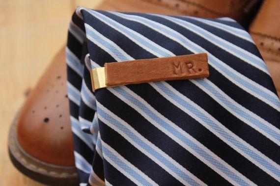 Brown Leather Handcrafted Tiebar by LooptySloopCreative on Etsy