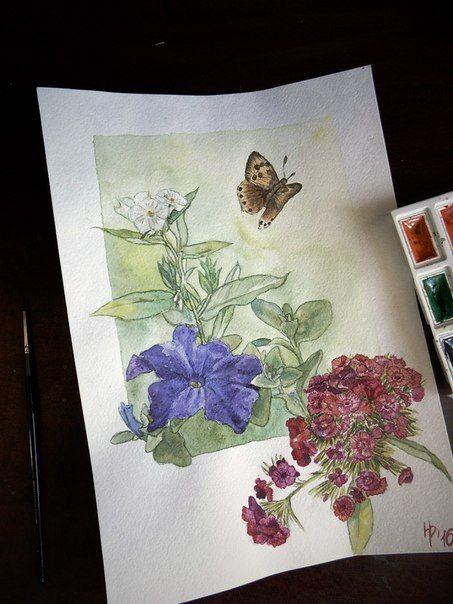 In the garden. Watercolor. 21х30. #Watercolor Н.Репина