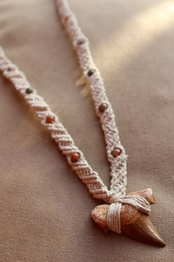 Sharks Tooth Macrame Hemp Necklace  by PerpetualSunshine111, $44.00