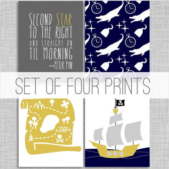 Peter Pan Art Prints / Custom Art Print / Nursery Wall Art Poster / Four 8x10 Print / Childrens Decor