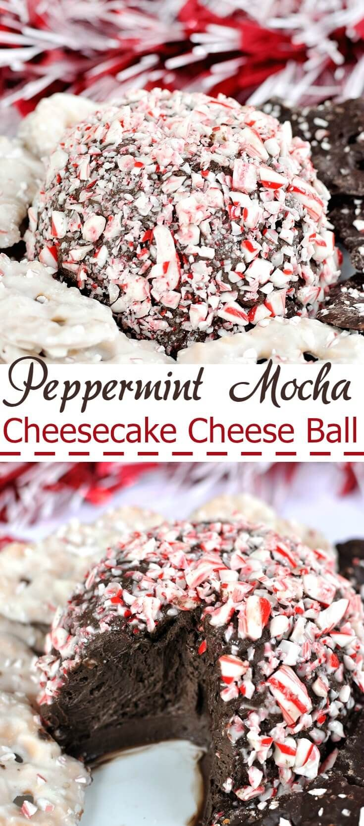 An easy holiday dessert all wrapped up in a cute little ball of sweet, minty goodness! Your guests will LOVE this Peppermint Mocha Cheesecake Cheese Ball.