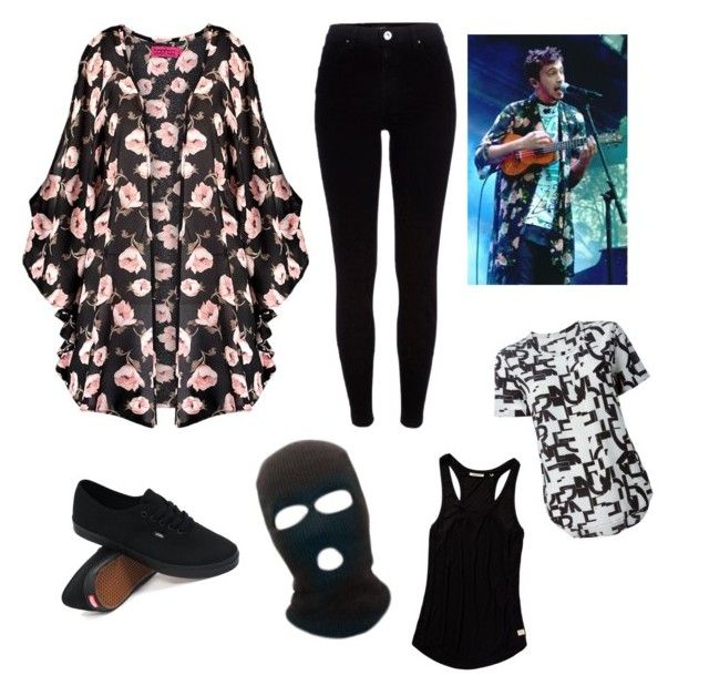 """""""Tyler Joseph floral kimono inspired look"""" by keela98 ❤ liked on Polyvore featuring Boohoo, River Island, Vans, Scotch & Soda and Equipment"""