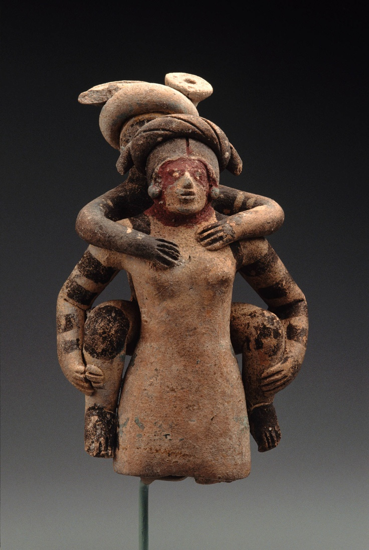 Mayan young woman carrying an old man, 600–800 AD, Late Classic.  Ceramic with traces of yellow, cream and maroon pigment.  From the Maya area, Petén, Guatemala | Princeton University Art Museum