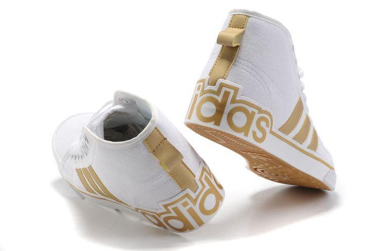 Adidas Originals Ad228 Top Canvas Afslappet Sko Mænd Hvid Guld Sneaker Clearance