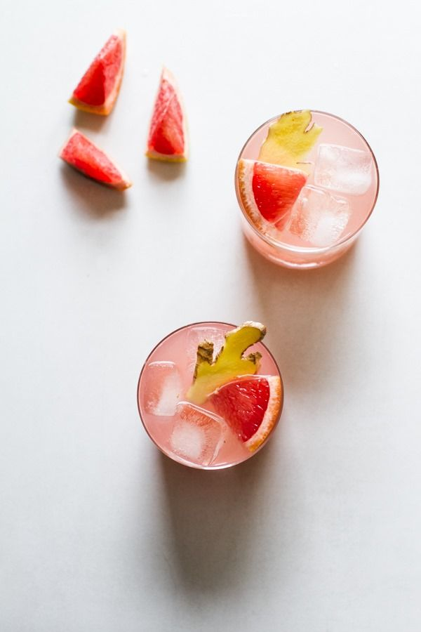 Doesn't this sound so soothing and exciting all at once? Ruby Red Grapefruit Ginger Cocktail (Vodka, sparkling water, honey, ginger, ruby red grapefruit juice.)