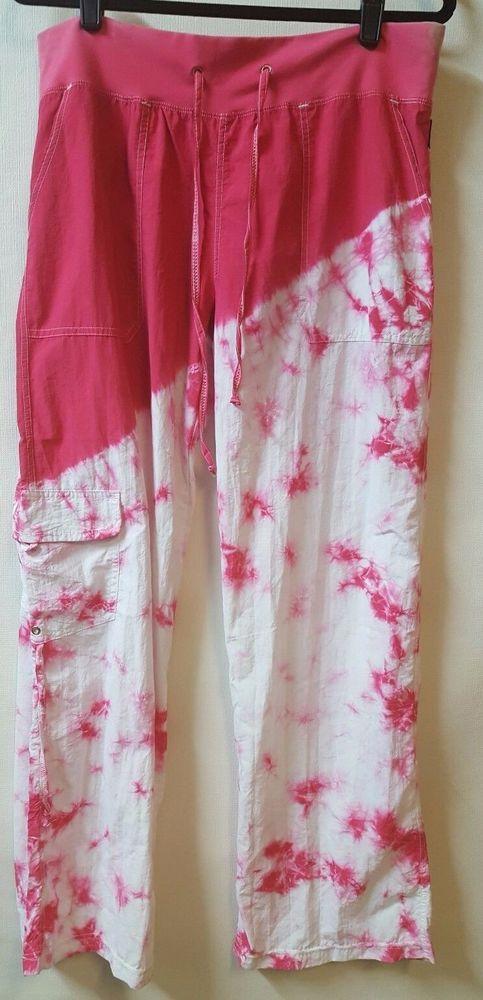 Kos Usa Pink White Tie Dye Athletic Pants Size Large  34 X 31 100% Nylon Pockets #KOS #PantsTightsLeggings