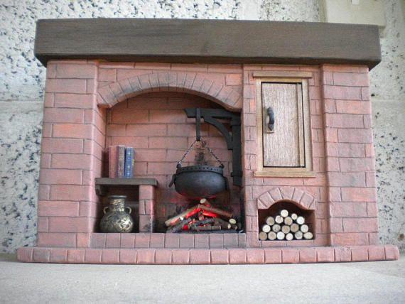 Große 1:6 Maßstab Puppe Haus Kamin Tudor, Colonial, Mittelalter, Ideal für Barbie Größe Puppen / Puppenhäuser Optional Licht Feuer (Batterie oder 12v 2-Pin) 13,5 lang 4 tief 9 hoch Bitte beachten Sie, dass dies ein sehr schweres Stück, so dass diese in die Versandpreise