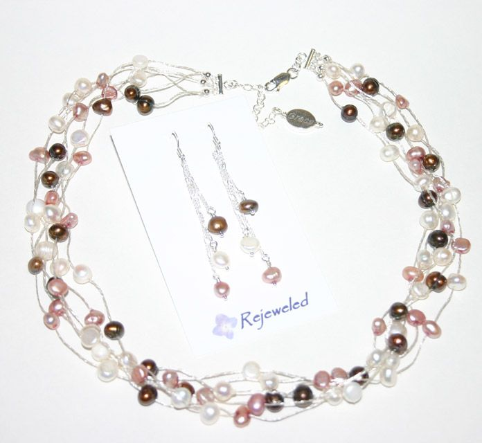 Floating pearls on silver mesh wire - bridesmaid set