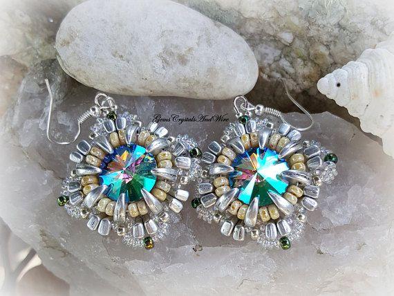Swarovski Beaded Earrings  Crystal Rivoli Earrings Crystal