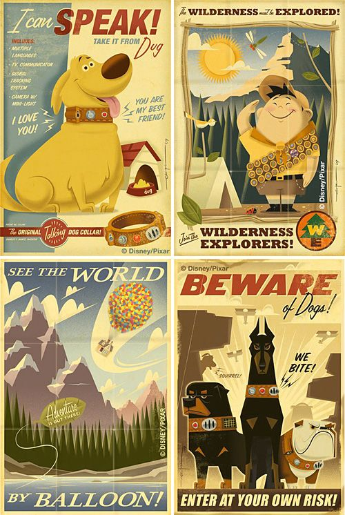 Vintage style posters for the movie Up. One of my fave movies - I need these in my life!
