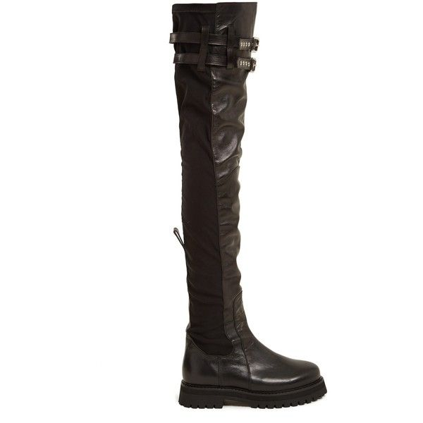 Marques'Almeida Thigh-high leather boots ($645) ❤ liked on Polyvore featuring shoes, boots, leather boots, real leather boots, over the knee thigh high boots, leather thigh high boots and real leather over the knee boots