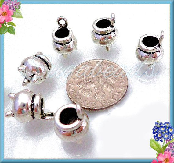 6 Silver Witch Cauldron Charms 12mm x 8mm PS51 by sugabeads