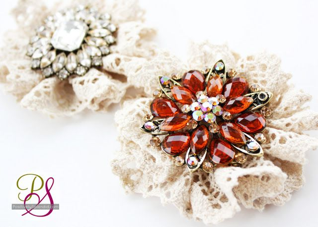 Vintage Lace Brooches | Positively Splendid {Crafts, Sewing, Recipes and Home Decor}: Splendid Crafts, Vintage Lace, Positive Splendid, Ribbons Bracelets, Vintage Brooches, Lace Brooches, Lace Flower, Chains Link, Sewing Patterns