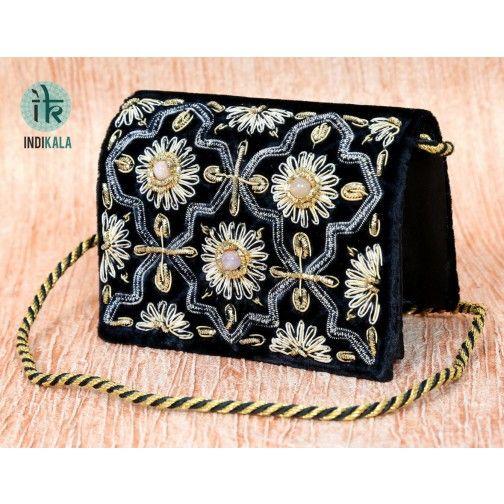 Zari Purse Black Velvet (Small Size)
