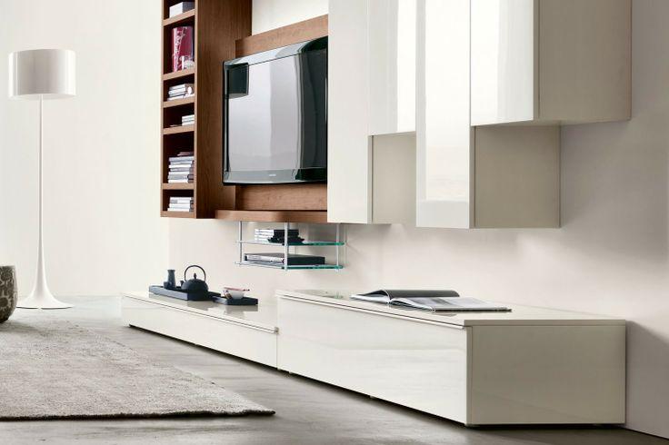 Parete attrezzata moderna per soggiorno 543 con Porta TV sospeso - dettaglio basi contenitore, disponibili in varie dimensioni | Napol.it