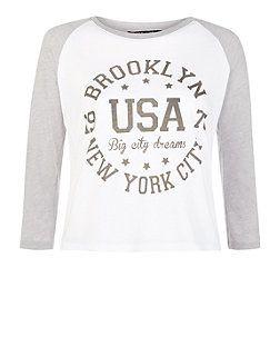 Teens Grey Brooklyn USA Raglan Top | New Look