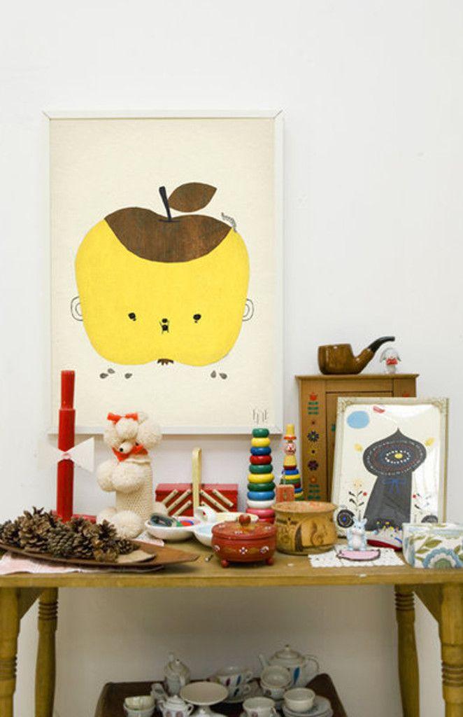 Apple Papple yellow Fine Little Day print
