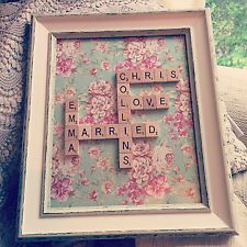 Personalised Scrabble Frame Wall Art Tiles Picture Wedding Gift - Up to 8 Words