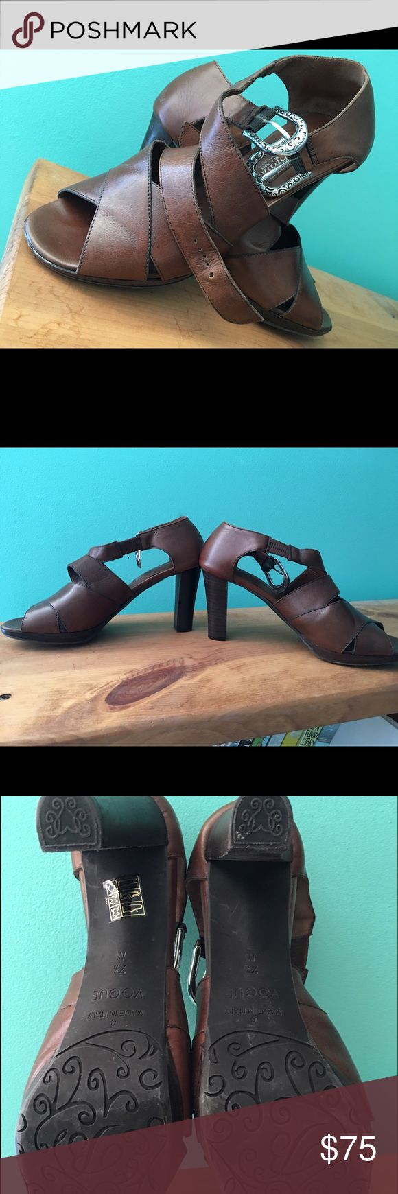 "Brighton sandals Beautiful brown leather Brighton sandals with 3 1/2 "" heels... excellent condition...silver buckle... vogue style ... caramel color ... timeless and classic in style Brighton Shoes Sandals"