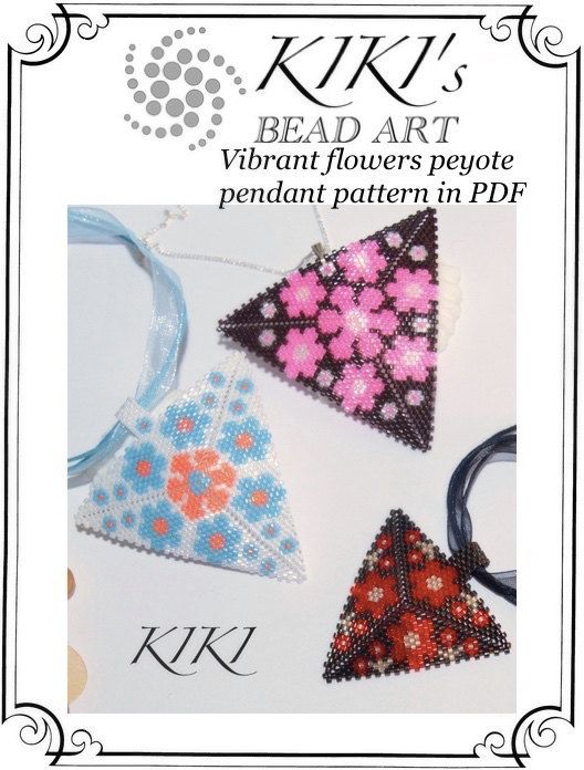 Flowery pendants - peyote triangle pendant patterns in hot colours - tutorial PDF in 5 versions - intant download