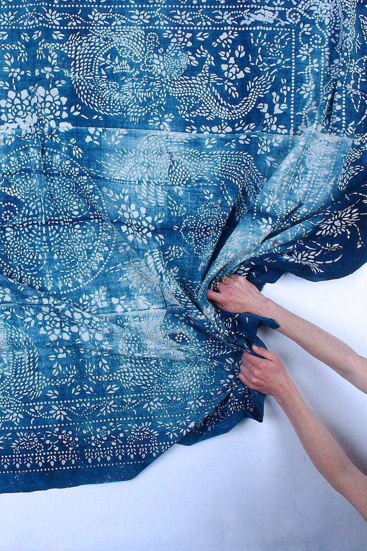 LuRu Home Vintage Chinese Indigo Batik fabric or Nankeen