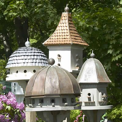 Birdhouses at tj's are handmade in New England of weatherproof cedar - love the unique roofs