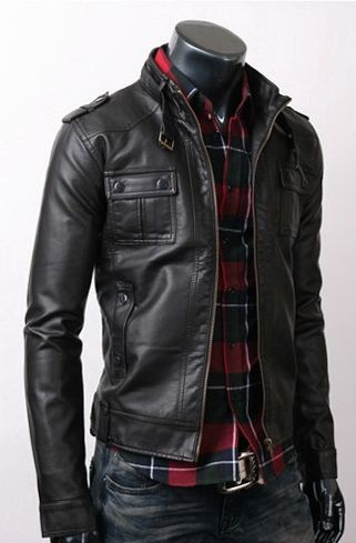 Fine Quality Strap Pocket Slim Fit Men Leather Jacket Black. No shirt though. Ick