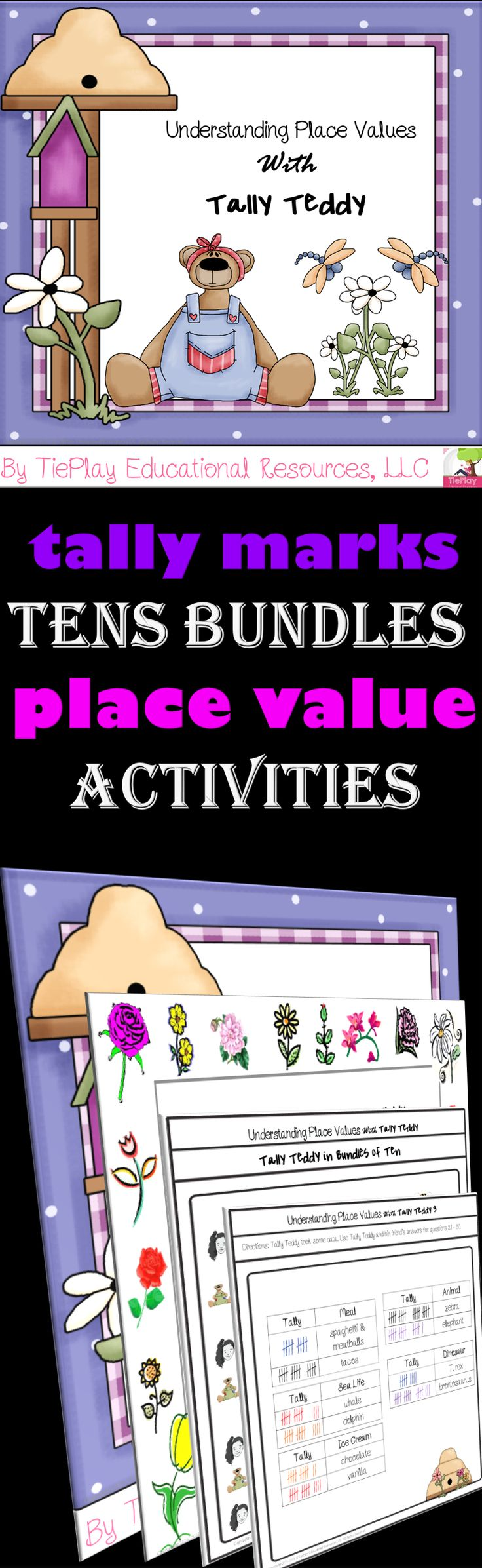 Price $5.50 Let Tally Teddy and Lara tell your class about math! In Understanding Place Values With Tally Teddy, learners answer questions after participating in tally, bundles of ten, and place value activities. Understanding Place Values With Tally Teddy includes lesson plans prior to task card use, 36 task cards, 3 Tally Teddy Math Stories, teacher key, directions for use, 4 student awards cards, and links to video math stories and songs.