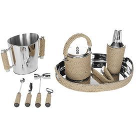 "Serve up specialty cocktails at your next soiree with this essential bartender set, showcasing rope accents and a brass finish.     Product: 1 Tray1 Stirrer1 Tongs1 Garnish knife1 Double jigger1 Bottle opener1 Beverage bucket1 Ice bucket1 Cocktail shaker with strainerConstruction Material: Rope, stainless steel and brassColor: Silver and naturalDimensions: 3.1"" H x 17.3"" W x 13.8"" D (tray)"