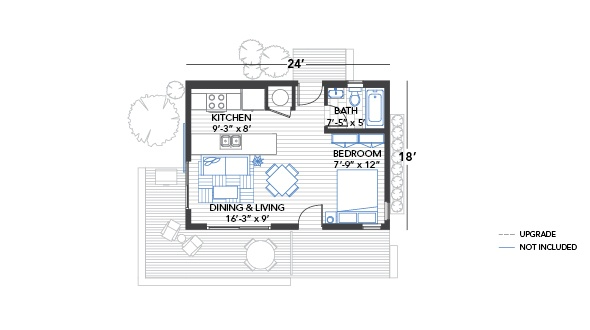 24x18 floor plan open sleeping area ideas de guest for Sleeping cabin plans