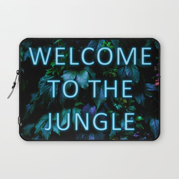 Welcome to the Jungle - Neon Typography Laptop Sleeve by Nicklas Gustafsson. Protect your laptop with a unique Society6 Laptop Sleeve. #neon #typography #floral #botanical #jungle #forest #nature #flowers #laptop #sleeve