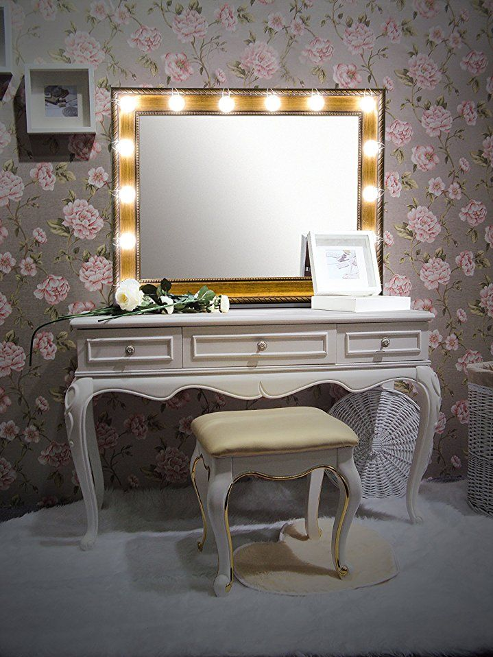 Waneway Hollywood Diy Vanity Lights Strip Kit For Lighted Makeup Dressing Table Mirror Plug In Led Light Mirror With Lights Vanity Mirror Dressing Table Mirror
