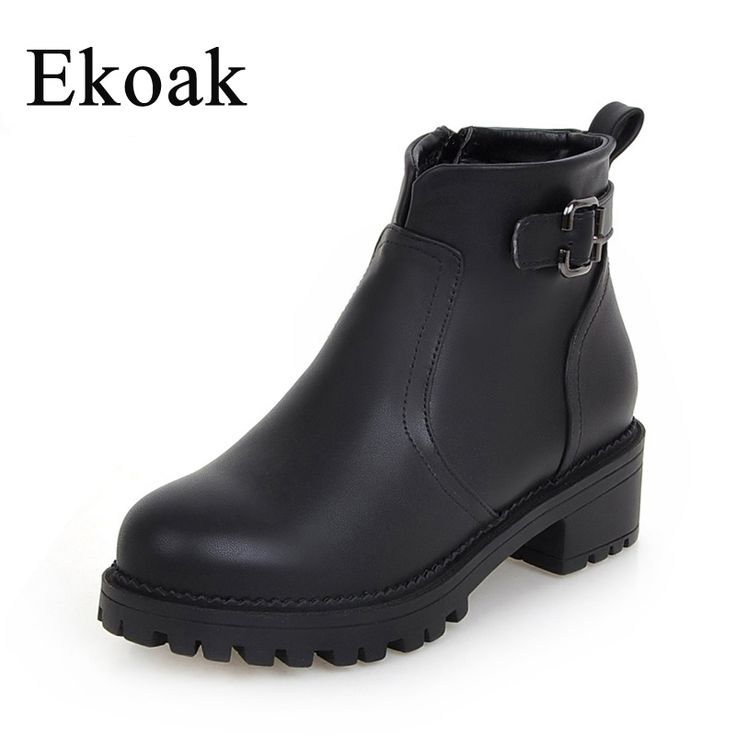 Ekoak New 2016 Autumn Fashion Leather Boots Women Flats Ankle Boots Casual Round Toe Buckle Zip Martin Boots Size 34-43 L45
