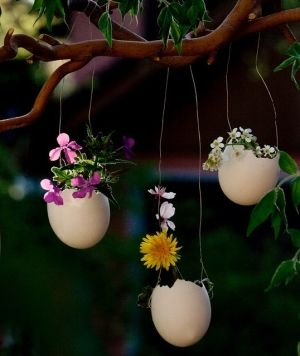 Easter eggs with pretty little flowers