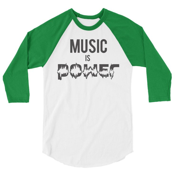 MUSIC IS POWER 3/4 sleeve classic baseball shirt