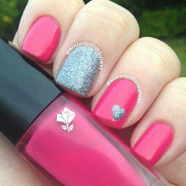 Hot pink silver heart nail polish