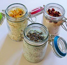 Heute habe ich Milch-Badesalz mit meinen 3 Lieblingsdüften   Ringelblume, Rose und Lavendel gemacht.   Um ein Glas mit 200 ml Inhalt ...