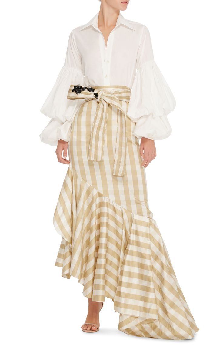 Johanna Ortiz M'O Exclusive San Isidoro Tiered-Puff Sleeves Top  Unlined.  98% cotton and 2% Elastane.  Worn with a fabulous asymmetrical skirt.  The puff sleeves are gorgeous. Moda Operandi