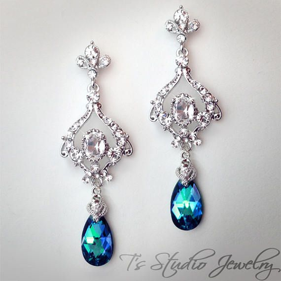 Pendientes de la lámpara novia jazmín azul pavo real