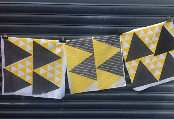 Handprinted triangle prints, by Smitten Design Textiles