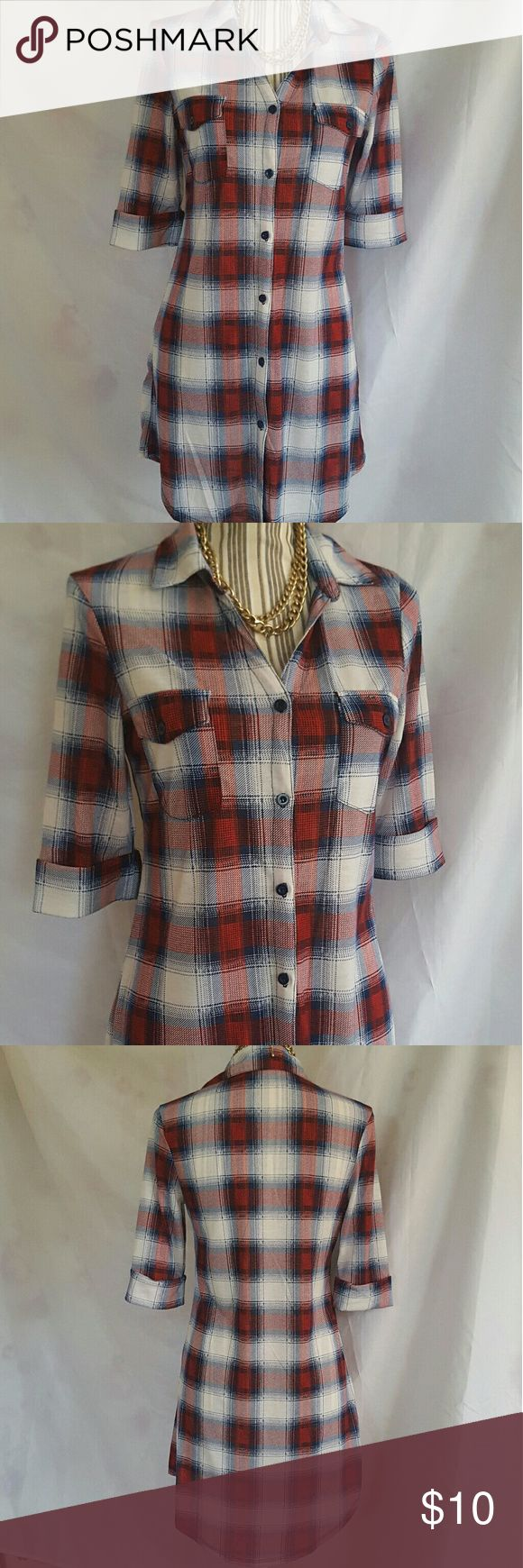 Plaid Shirt Dress NWOT from New Look Red, navy and white plaid shirt dress made from soft cotton blend that has a slight stretch. Traditional shirt hem, two breast pockets, and cuffed sleeves. Looks fantastic with leggings and boots too!! Never worn. New Look Dresses