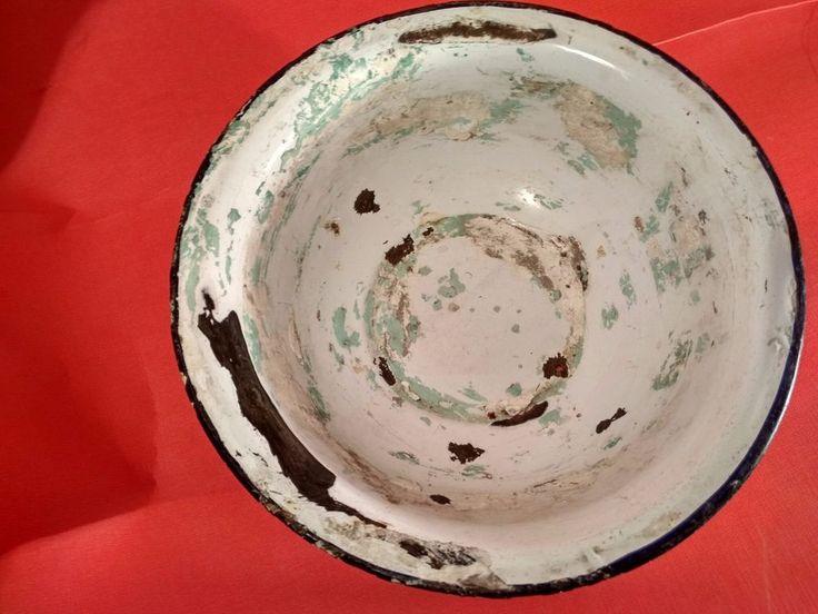 Old Vintage White Blue Porcelain Enamel Metal Round Shape Bowl from India 1950 #Unbranded