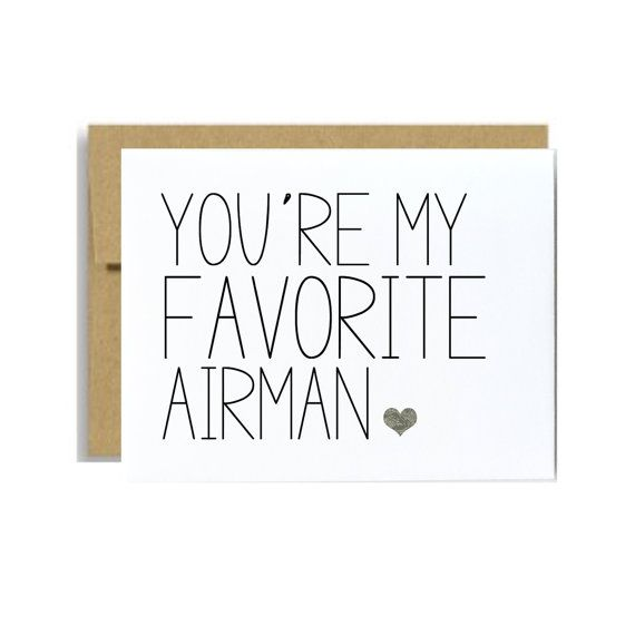 Military greeting card Favorite Airman Air force card  You are my favorite airman card husband boyfriend friendLittle sloth cards on Etsy, $4.00
