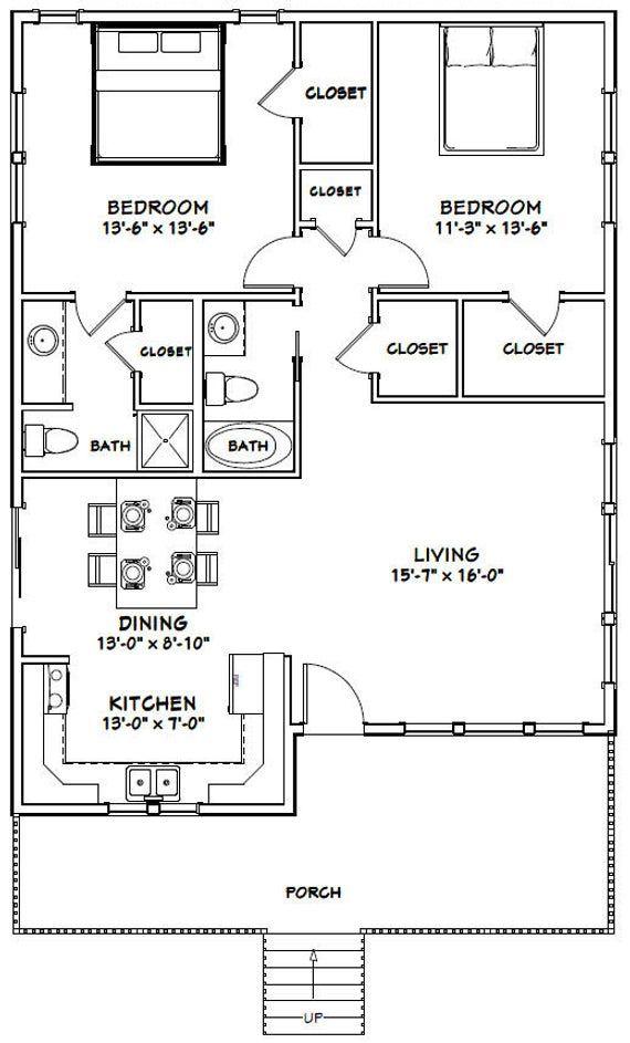 30x40 House 2 Bedroom 2 Bath 1136 Sq Ft Pdf Floor Etsy 30x40 House Plans Small House Floor Plans Guest House Plans