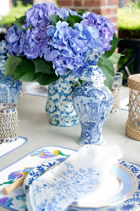 pattern play: Table Settings, Tory Burch, Flower Arrangements, White Table, Burch Table, Tablescape, Blue And White
