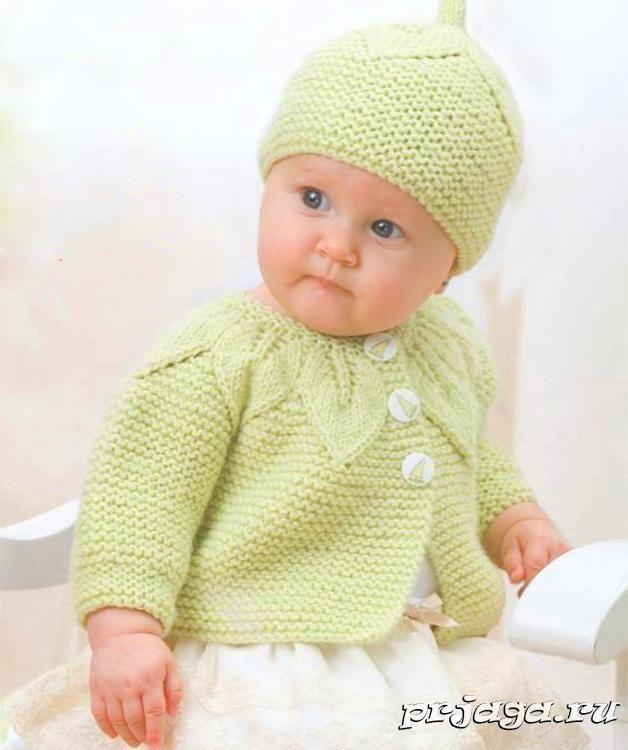 Вязание детской кофточки спицами