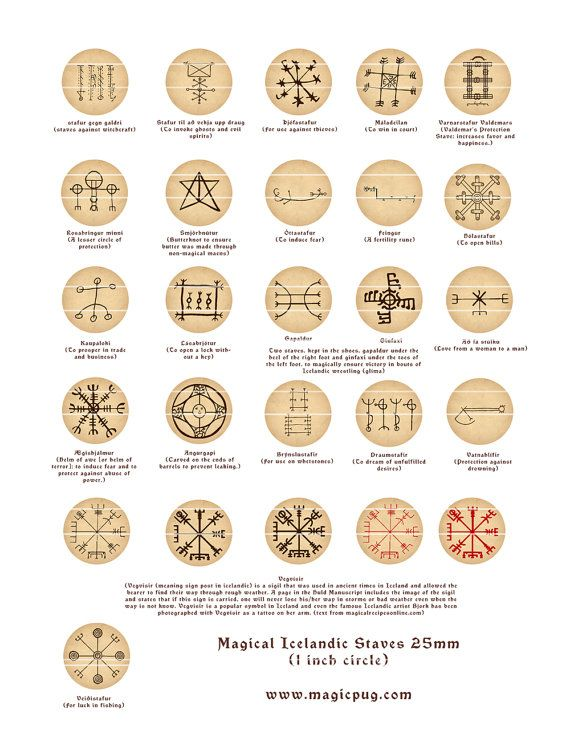 Magical Icelandic Staves digital collage sheet 25.4mm by magicpug