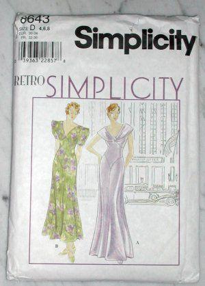 Discontinued RETRO SIMPLICITY 30s Deco Evening Dress 8643Homemade Apparel, Evening Dresses, Discontinued Retro, 30S Deco, Retro Simplicity, Dresses 8643, Simplicity 30S, Size, Dreamy Dresses