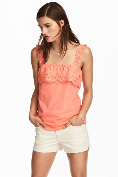 Top avec broderie anglaise - Corail fluo - FEMME | H&M FR