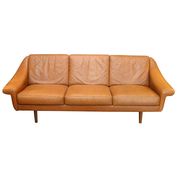 Danish Modern Leather Couch